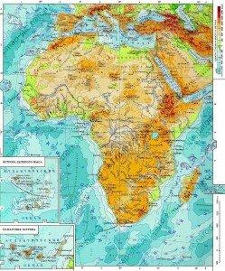 Фізична карта Африки