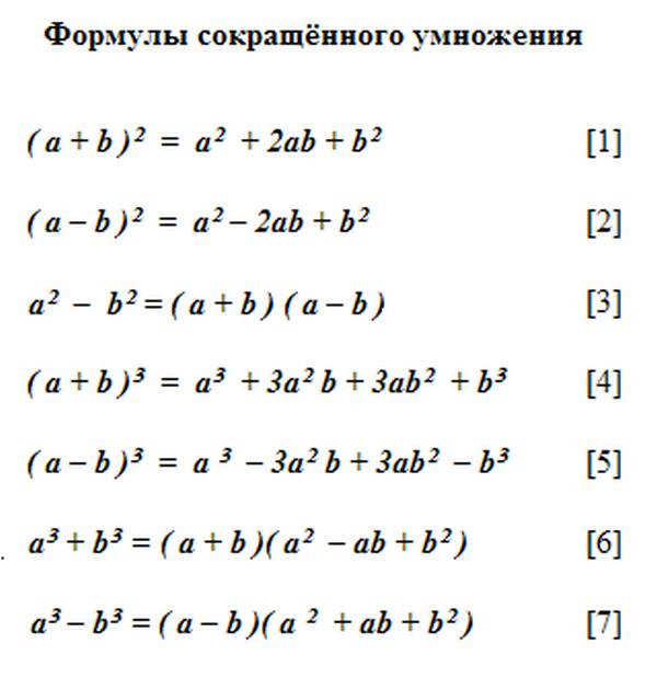 всех по шпаргалка класс формул алгебре 7