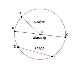 Радіус, хорда, діаметр